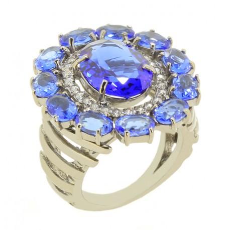 Anel Ródio Negro com Azul
