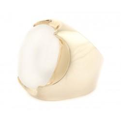 Anel Oval Branco Leitoso