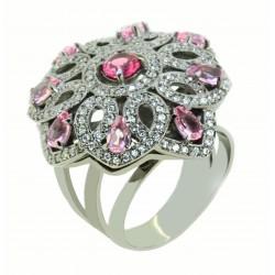 Anel Pedras Rosa e Zircônias