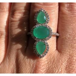 Anel Ródio Pedras Verdes