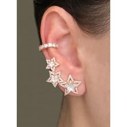 Brinco Ear Cuff Estrelas Dourado