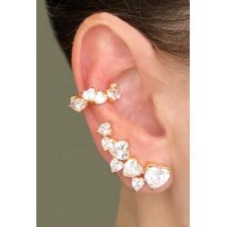 Brinco Ear Cuff Coração Dourado