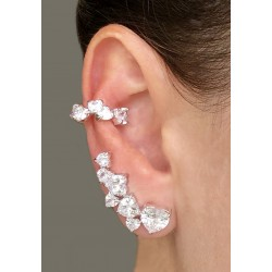 Brinco Ear Cuff Coração Prateado