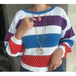 Blusa Tricot Listras Coloridas