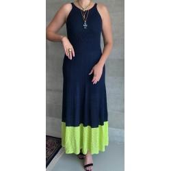 Vestido Longo Azul e Verde