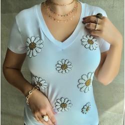 Camiseta Branca Flores